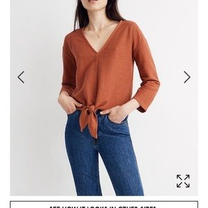 NWT Texture & Thread Long-Sleeve Tie-Front Top